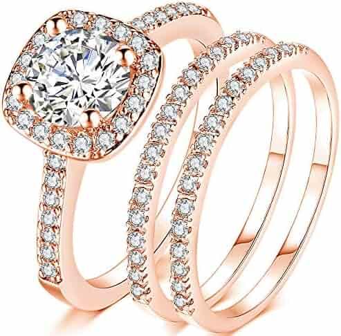 Image result for Jude Jewelers Silver Rose Gold 1.5 Carat Wedding Engagement Eternity Bridal Ring Set