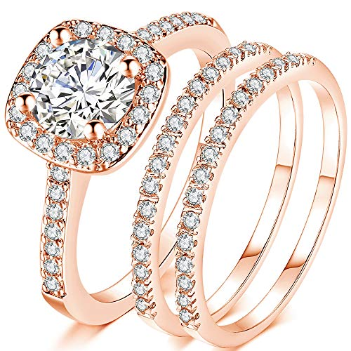 - Jude Jewelers Silver Rose Gold Three-in-One Wedding Engagement Bridal Halo Ring Set (Rose Gold, 8)