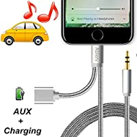 iPhone 7 Aux Cable, Ablerv 2 in 1 Lightning Connector to 3.5mm Aux Adapter Code with Female Extension Charge Port for iPhone 7/7 Plus to Car Stereo
