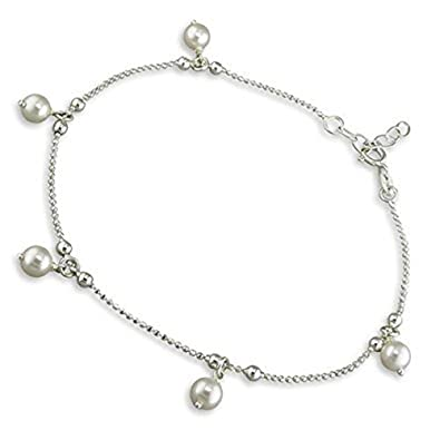 Daisy Ankle Chain Sterling Silver Anklet - Adjustable 9