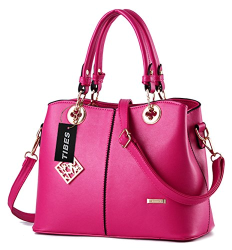 Tibes Ladies PU Leather Handbag with Shoulder Strap Rose Pink