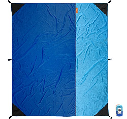 Wildish Large Multi-Function Beach Picnic Outdoor Camp Blanket Includes Sand Anchor Pockets and Tent Stakes Mr. Big Stuff 9 x 7