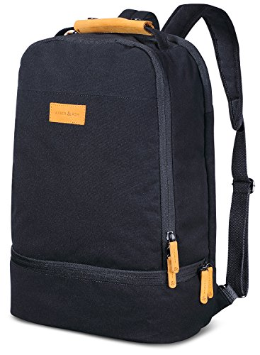 AMBER & ASH Lightweight Everyday Laptop Backpack Business Anti Theft Slim Durable Water Resistant College School Travel Computer Bag for Women & Men Fits 15.6 Inch Laptop and Notebook [Black]