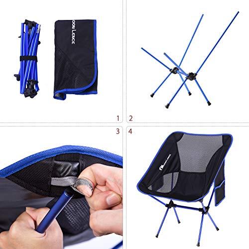 MOON LENCE Outdoor Ultralight Portable Folding Chairs with Carry Bag Heavy Duty 242lbs Capacity