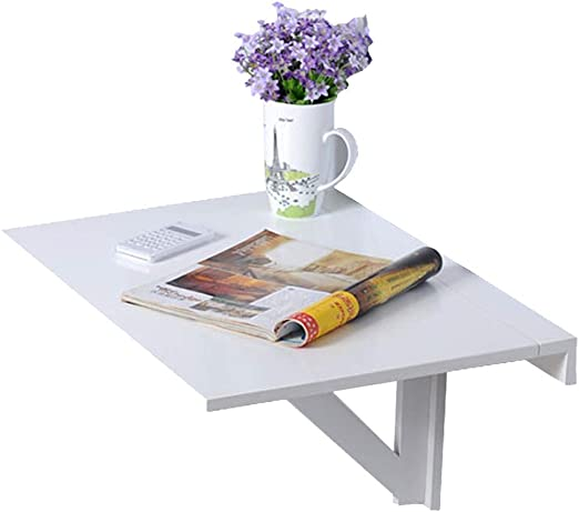 Bedroom,Bathroom or Balcony,Folding Table,23.6x15.7x12.6 inches White Floating Folding Table,Drop-Leaf Wall Mounted Table,Space Saving Hanging Table for Study