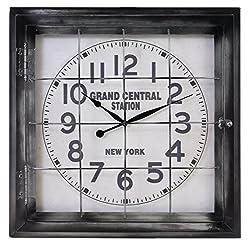 Kiera Grace HO60217-6 20 Arthur Metal Wall Clock, Large, Grey