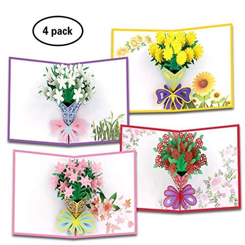 3D Pop up Card of Rose/Gardenia/Sunflower/Carnation | Flower Romance Anniversary Card | 4 Pack Holiday Pop Up Cards Gift |Nature Handmade Cards