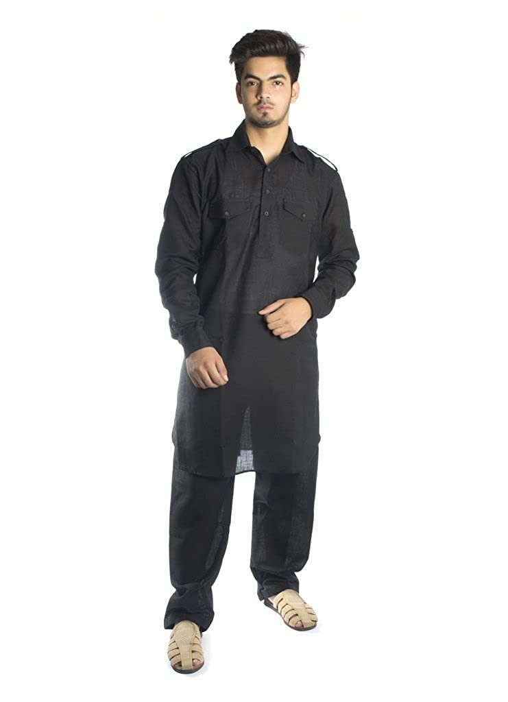 Kurta Palace Men's Ethnic Set Royal BLACK-PS-1-L-$P