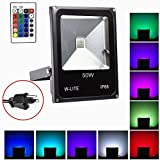 50W Remote Control RGB Dimmable Color Changing Waterproof LED Flood Light Wall Mounted with US 3-Plug 16Colors&4Modes,IP66 Waterproof for Building,Lawn,Bridge,Indoor/Outdoor Holiday Decoration