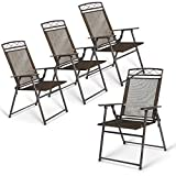 SHOPPER's CHOICE 4 Garden Chairs Set Foldable Sling Back Chairs Easy Stacking Furniture Sit Outdoor Patio Garden Pool Side Camping Deck Seats Carry Movable Steel More Addition Seat Rooms
