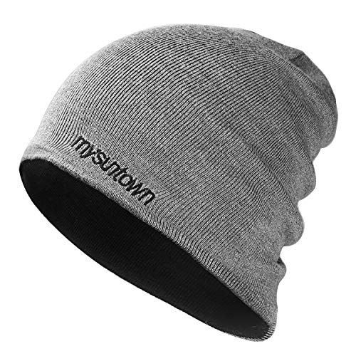 mysuntown Beanie for Men and Women Double-Sided Knit Cap Unisex Slouchy Beanie Winter Warm Hat