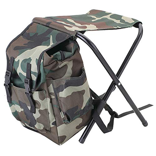 ZJY 2 in 1 Camouflage Fishing Chair, Backpack Stool Combo 600D Oxford Cloth PVC Waterproof Coating - for Camping Fishing, Hiking, Picnic, Outdoor, BBQ