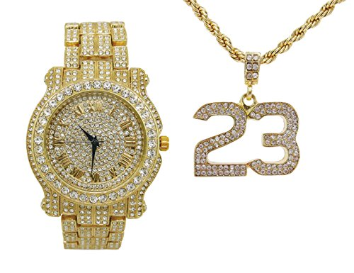 Bling-ed Out Rapper Favorite - The Luckiest #23 Ice'd Look Pendent with Gold Tone Necklace and Fully Bling'd Out Luxurious Gold Watch!! - L0504-SSS05 Gold