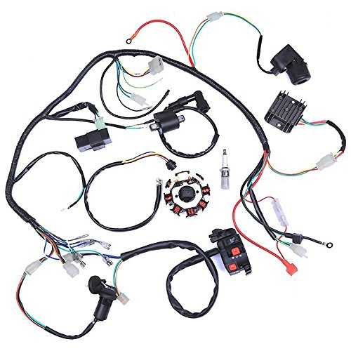 (ZXTDR Wiring Harness kit Wire loom | Complete Electrics Stator Coil CDI for 150cc-300cc ATV QUAD 4 Four wheelers Go Kart Dirt Pit bikes (2 fixing holes))