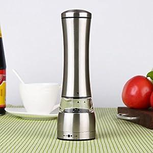Mhhpek Stainless Steel Black Pepper or Salt Grander Mill Strong Ceramic Grinder Mechanism With Unique Design