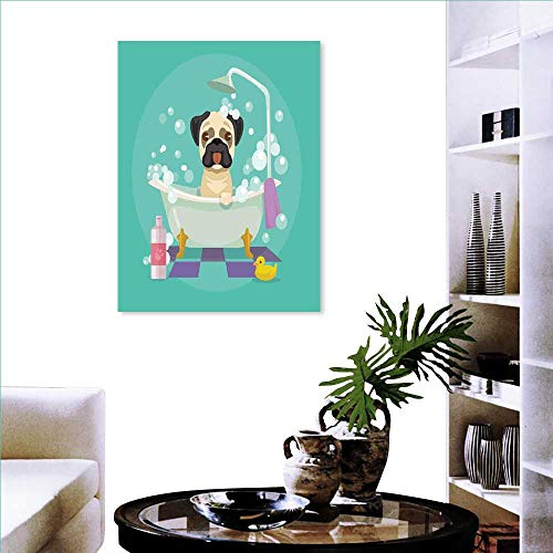 Nursery Wall Art Canvas Prints Pug Dog in Bathtub Grooming Salon Service Shampoo Rubber Duck Pets in Cartoon Style Image Ready to Hang for Home Decorations Wall Decor 32