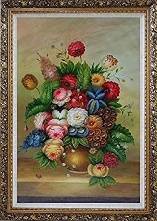Amazon Framed Oil Painting 36x24 Beautiful Flowers In A Vase
