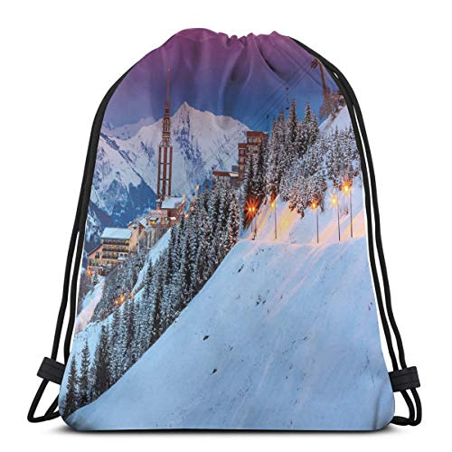 - 2019 Funny Printed Drawstring Backpacks Bags,Majestic Winter Sunrise Landscape And Ski Resort Spruce Pine Forest French Alps,Adjustable String Closure