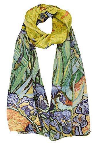 (ELEGNA Women 100% Silk Art Collection Scarves (Van Gogh's)