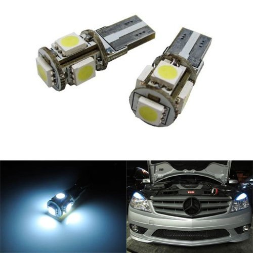 iJDMTOY 5-SMD Error Free 2825 W5W LED Bulbs For European Cars Parking Lights, Xenon White