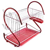 Dish Drying Rack, Yamix Multifunction High Carbon Steel 2-Tier Dish Rack Holder Dish Drainer Rack Utensil Drainer Kitchen Shelves - Red