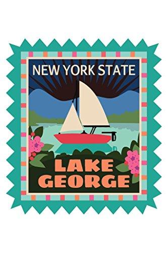 Lake George Retro Travel Sticker Art Print Poster 24x36 (Diamond Mountain Winery)