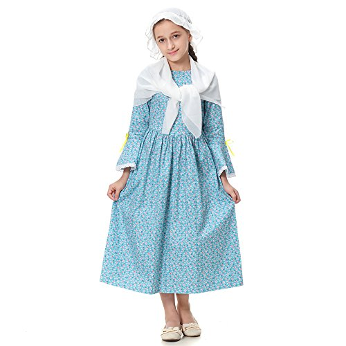 KOGOGO Pioneer Costume Colonial Prairie Dress for Girls 100% Cotton,Blue,US8