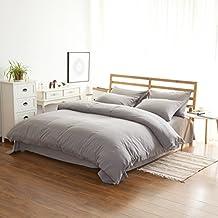 Zhiyuan High Quality Warm Brushed Microfiber Duvet Cover Flat Sheet Pillowcases Set, Twin, Light Grey