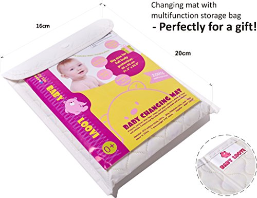 """Changing Mat - Biggest Waterproof & Reusable Portable Changing Pad (25.5""""x31.5"""") for Change Diaper in Any Places - Unisex Design for Girls & Boys - Improved Reinforced Double Seams - Free Storage Bag"""