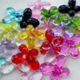 Beading Station 22-Piece Acrylic Crystal Faceted Butterfly Beads for Jewelry Making, 25mm, Multicolor