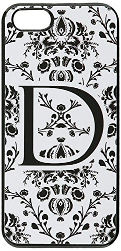 Graphics and More Letter D Initial Damask Elegant Black White Snap-On Hard Protective Case for iPhone 5/5s - Non-Retail Packaging - Black