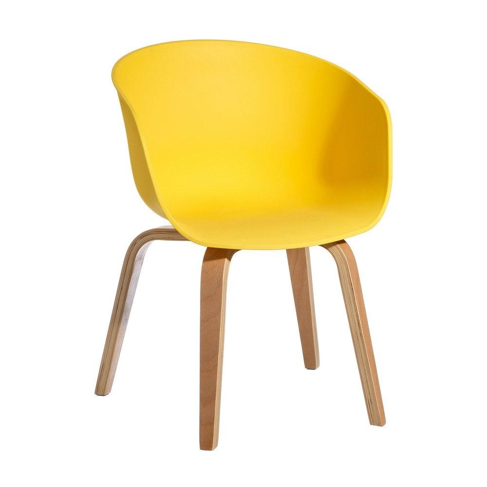 Chaise jaune pp-madera moderne salon 58 x 51 x 76 cm