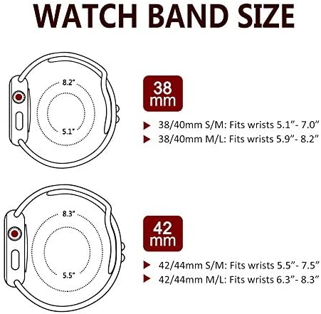AdMaster Compatible with Apple Watch Bands 38mm 40mm 42mm 44mm, Soft Silicone Strap Breathable Holes Workout Sport Compatible with iWatch Series 1/2/3/4/5/6 SE Women/Men 51WQlQwHWLL