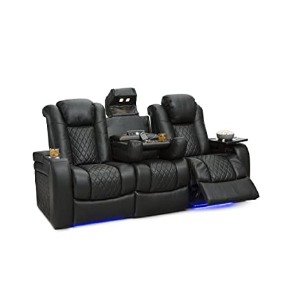 Superbe Seatcraft Anthem Home Theater Seating Leather Multimedia Power Recline Sofa  With Fold Down Table,