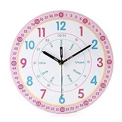 jomparis Kids Wall Clock Learning Time Wall Clock Educational Teaching Clock 10 Inch Silent Non Ticking Quality Quartz Battery Operated Wall Clocks