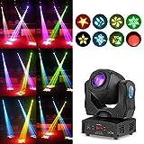 Tomshine Moving Head Lights 80W Stage Lights 8 Gobo Rainbow DJ Lights Disco Lights 8 Colors 9/11 Channels LED Strobe Lights D