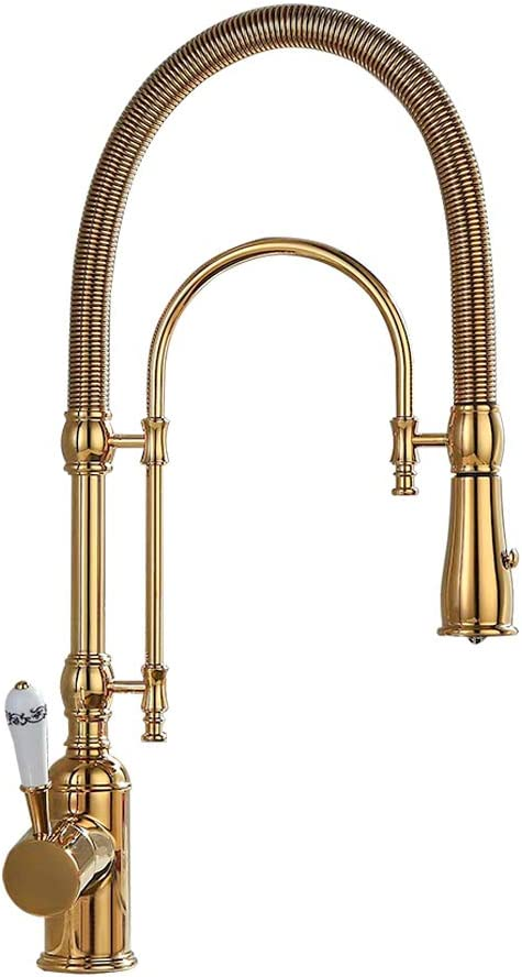 Kunmai High Arc Swirling Dual-Mode Pull-Down Kitchen Faucet with Porcelain Handle Gold