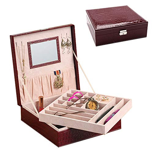 - Jewelry Cases, 28 Slots PU Leather Jewelry Box Organizer, Double-Layer Stackable Trays, Modern Design Keeps Necklaces, Rings & Earrings & Bracelet & Jewelry & Cufflinks, Large Mirror Ect, Crocodilian