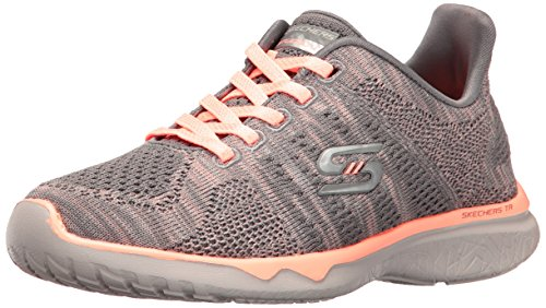 Skechers Sport Women's Studio Burst Virtual Reality Fashion Sneaker Gray/Orange