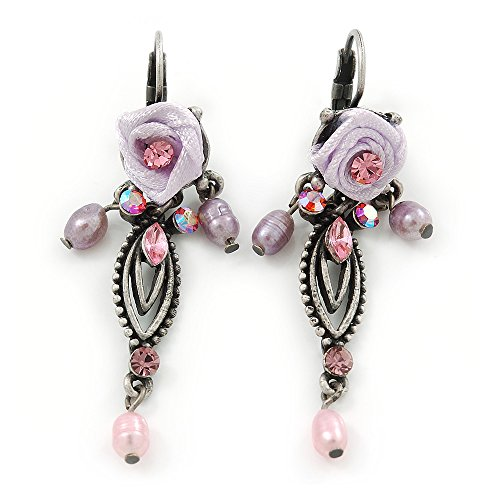 Vintage Inspired Pink Freshwater Pearl, Crystal, Lavender Fabric Rose Drop Earrings With Leverback Closure In Pewter Tone - 55mm ()