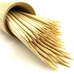 "300 Premium Round Sharp Point Bamboo Skewers - 3mm thick & 7.1"" long"