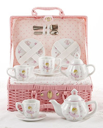 Delton Products Bella Ballerina Porcelain Tea Set in Case, Pink