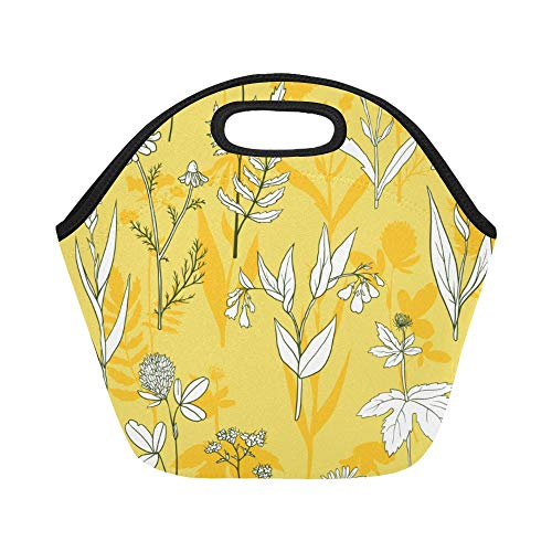 Insulated Neoprene Lunch Bag Calendula White Vintage Hand Drawn Large Size Reusable Thermal Thick Lunch Tote Bags For Lunch Boxes For Outdoors,work, Office, School