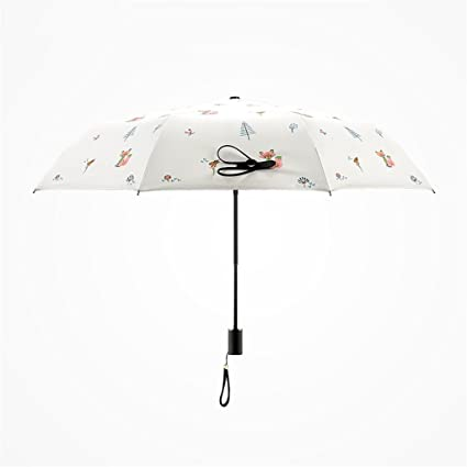 LWZ-Paraguas Cute Little Fox Pattern Umbrella Sunscreen Fortalecer A Prueba De Viento UV Handle
