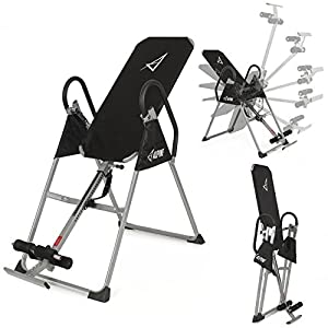 Akonza Inversion Table Deluxe Fitness Chiropractic Back Pain Relief Exercise Gravity, Black