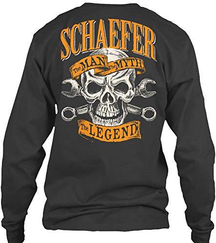 Schaefer. XL - Dark Heather Long Sleeve Tshirt - Gildan 6.1oz Long Sleeve Tee