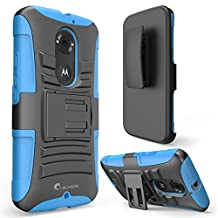 Moto X Case, i-Blason Google Motorola Moto X 2nd Gen Case Prime Series Dual Layer Holster Case with Kickstand and Locking Belt Swivel Clip for Moto X 2nd Generation Case for Moto X 2 (Blue)