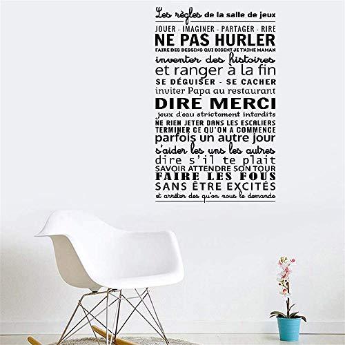 Hetsa Wall Art Decor Decals Removable Mural Wall Sticker French Quote Les Règles De La Salle De Jeux for Game Room