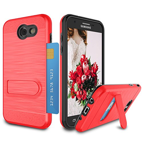 Galaxy J3 2017 Case, J3 Emerge/Amp Prime 2/J3 Luna Pro/J3 Eclipse/J3 Mission Case, Zectoo Heavy Duty Anti Scratch Dual Layer Metal Satin with Kickstand Bumper Wallet Cover Card Holder Case - Red