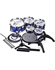 Children Kids Jazz Drum Set Kit Musical Educational Instrument Toy 5 Drums + 1 Cymbal with Small Stool Drum Sticks for Beginners (Color : Blue)